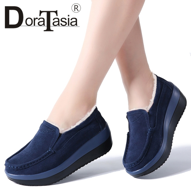 DORATASIA Women's Add/No Fur Natural Suede Flat Platform Shoes Woman Winter Spring Casual Loafers Lady Heels Moccasins Footwear