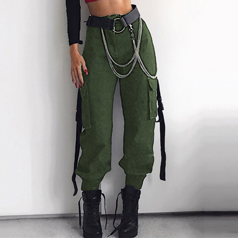 3 Colors Female Ladies Casual Long Pants Women Casual High Waist Side Pockets Streetwear Trousers Cargo Pants