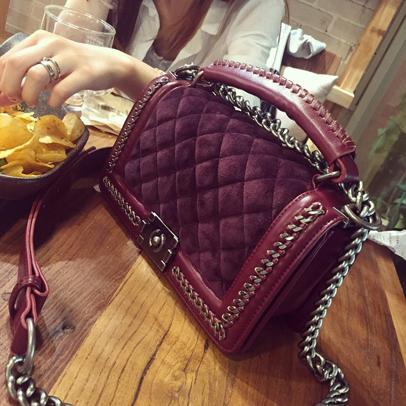 Velvet Diamond Lattice Women Designer Chain Handbags Lady Quilted Plaid Shoulder Crossbody Bags Women Messenger cover Bag znakomity plaid stripe shoulder bag genuine leather quilted bags handbag diamond lattice leather quilted messenger crossbody bag