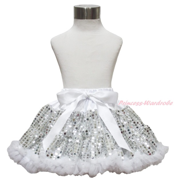 Xmas Silver White Sparkle Bling Sequins Girl Pettiskirt Dance Tutu 1-8Year