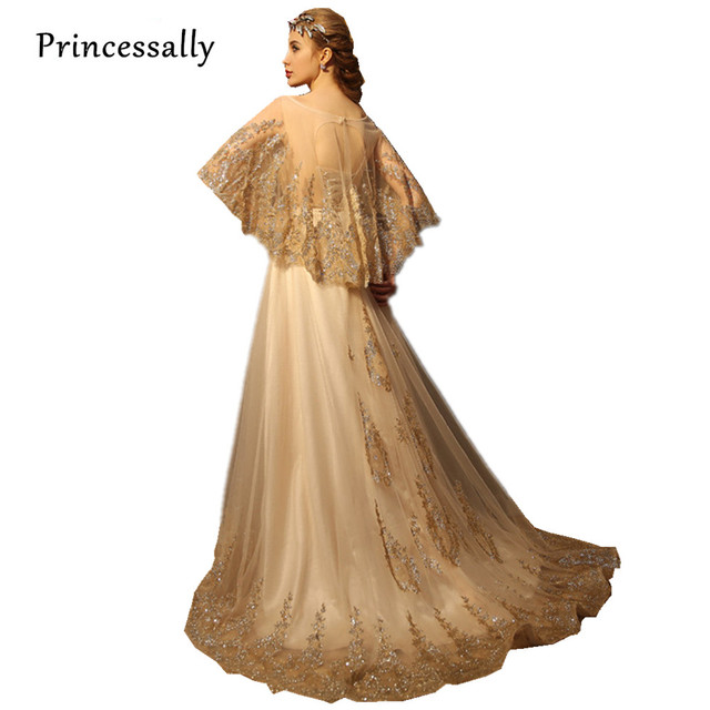 Princessally Luxury Long Evening Dress with Shawl Gold Lace ...