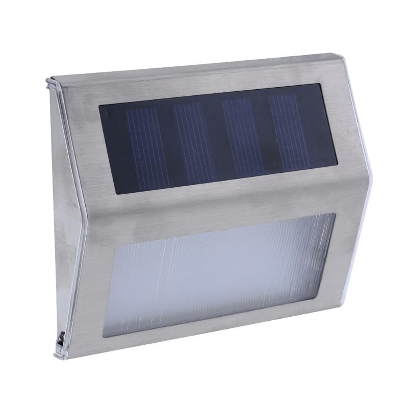 Stainless Steel Mini 3 LED Solar Wall Light Garden Light Lamps for Outdoor Illuminates Stairs Paths Deck Patio Street Light