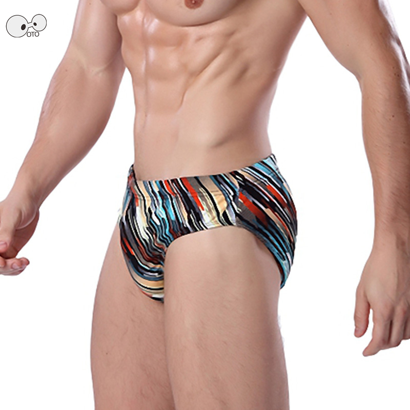 <font><b>Sexy</b></font> Elastic <font><b>Mens</b></font> Print Quick Dry <font><b>Swimming</b></font> <font><b>Briefs</b></font> Low Waist Triangle Swimwear <font><b>Bikini</b></font> Shorts Trunks Summer Beachwear Bathing Suit image