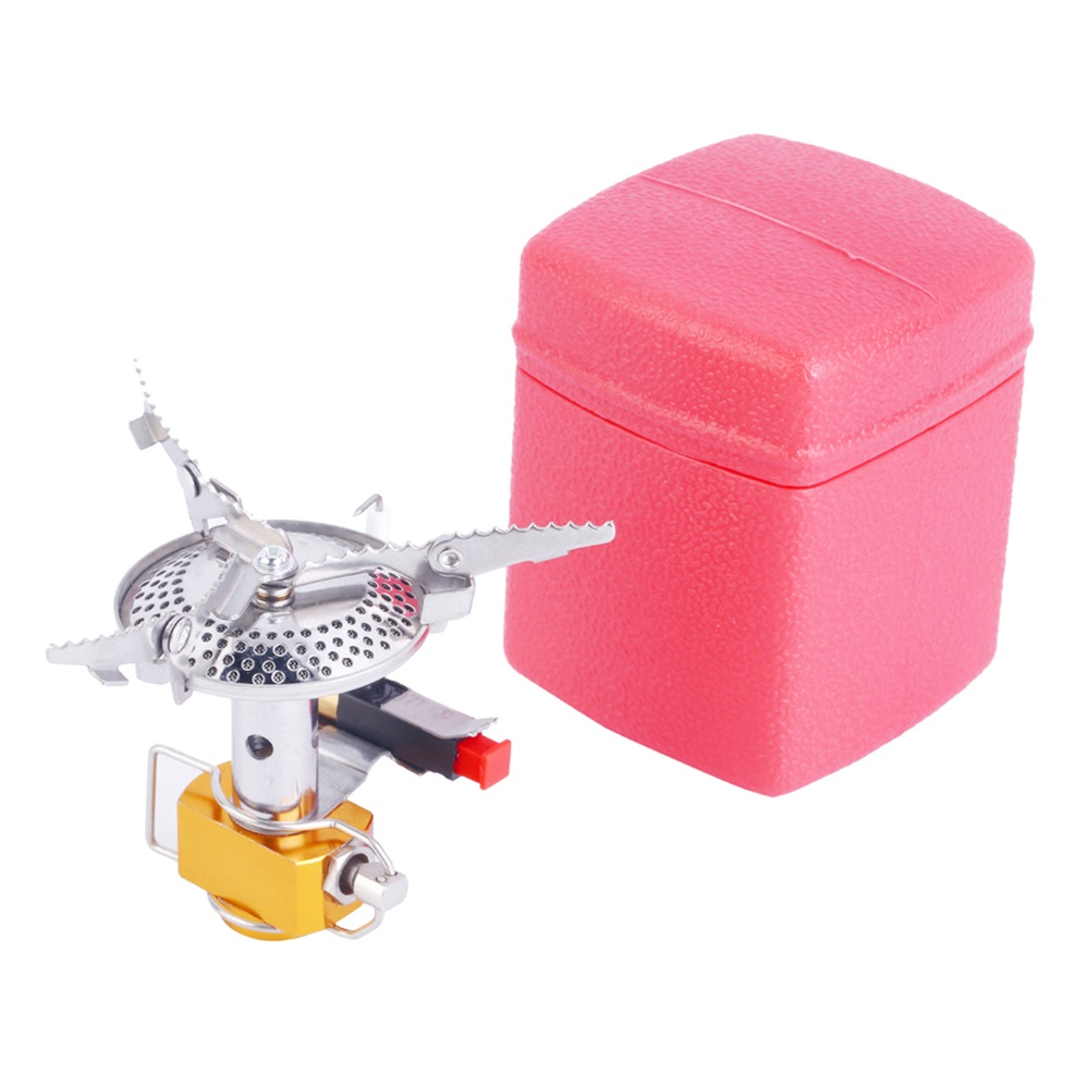Outdoor Picnic High-energy Ceramic Piezoelectric Ignition Mini Folding 7.3*6.5cm Butane Gas Portable Camping Steel Stove + Case