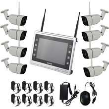 """Aokwe New arrival 8ch 720P Outdoor Day night security NVR kit CCTV wifi security camera system with 11"""" LCD Screen"""