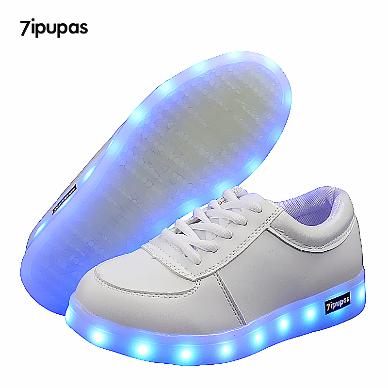 7ipupas Kids Shoes With Light Boys Led Sneakers Spring Autumn White Lighted Fashion Girls Luminous Shoes Glowing Children Shoes