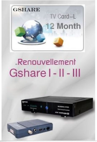 Original Gshare recharge renewal abonnement 12 mois for