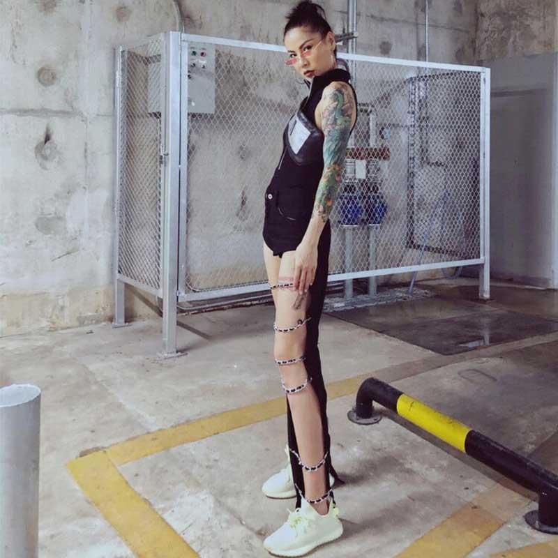 Women Punk Gothic Black Hole Maxi Jeans with Metal Chian Leg Ring Street Casual Floor Denim Pants Sexy Stylish Harajuku Trouser
