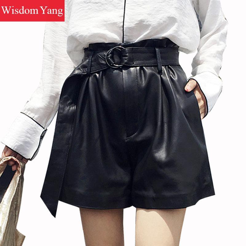Широкие брюки из натуральной овчины из натуральной кожи шорты Для женщин оборками 2018 черные короткие Feminino Palazzo женский костюм короткие раск...