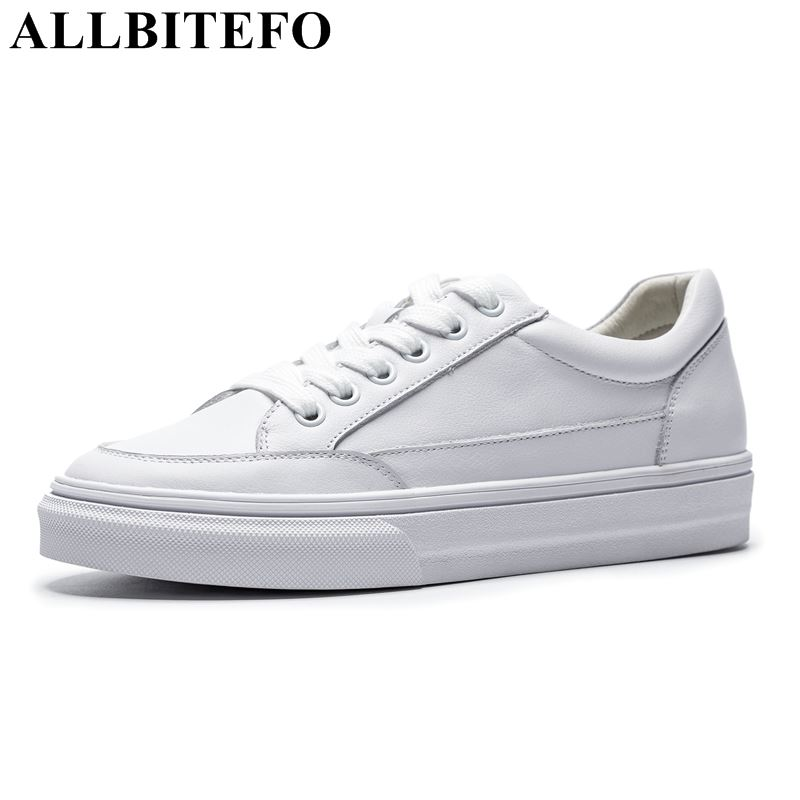 ALLBITEFO full genuine leather comfortable flat shoes spring Autumn high quality casual women shoes flat shoes