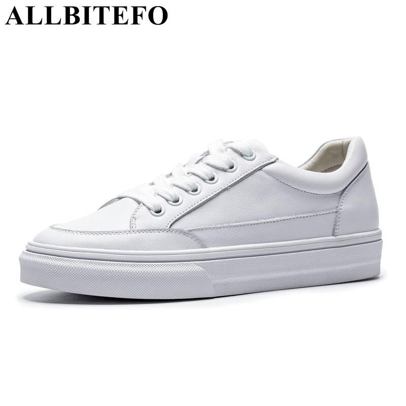 ALLBITEFO en cuir véritable chaussures plates confortables printemps/Automne haute qualité décontracté femmes chaussures plates chaussures femmes ballerines blanches-in Chaussures plates femme from Chaussures    1
