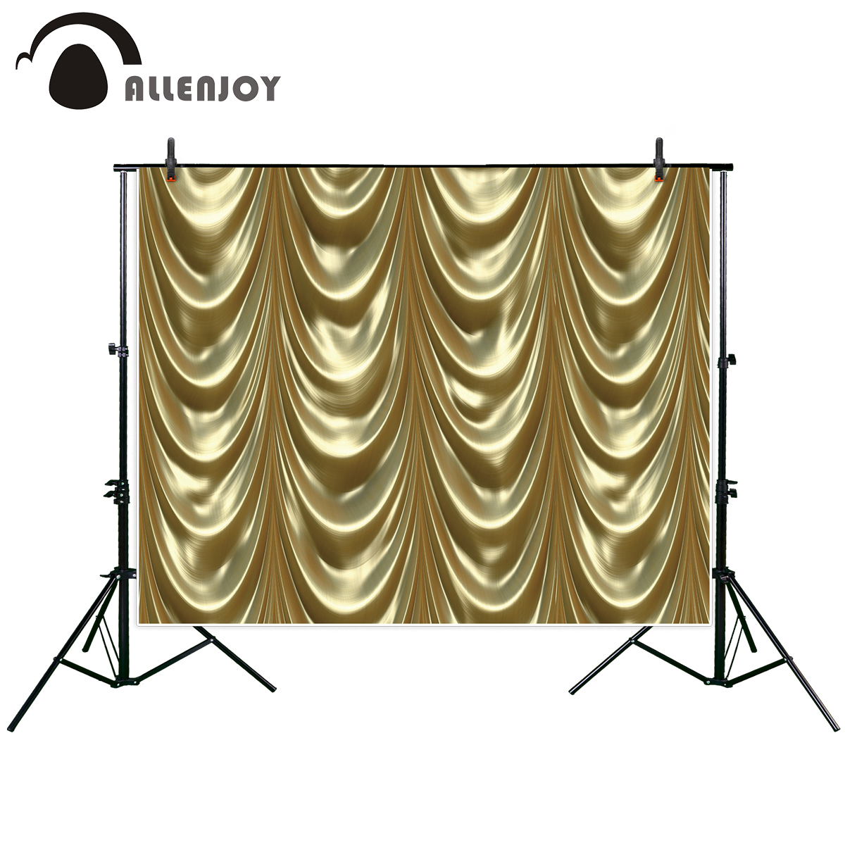 Draping Curtains Us 9 31 33 Off Allenjoy Photography Backdrop Luxurious Golden Curtains Draping Down Like In A Theatre New Background Photocall Photo Printed In