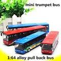 1: 64 aleación tire volver cars, city bus modelo de simulación de alta, trompeta mini bus, niño regalos, metal a troquel, automóviles de juguete, envío libre