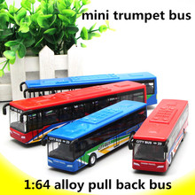 1:64 alloy pull back cars,city bus high simulation model,mini trumpet bus,boy presents,metal diecasts,toy vehicles,free shipping