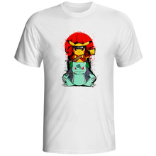 Pikachu Bulbasaur Crossover Naruto T Shirt Game Anime Design Creative T-shirt Fashion Novelty Style Cool Top Tshirt