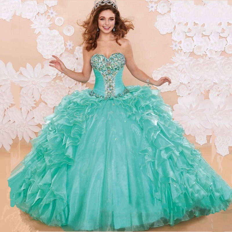 Quinceanera Dresses 2014 Mint Vestidos De 15 Anos Co...