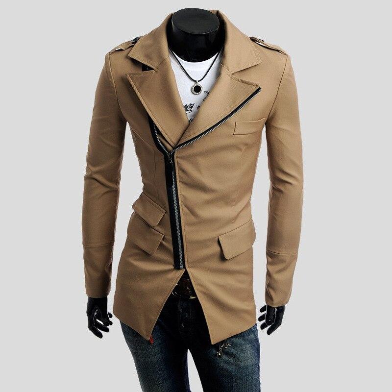 2018 Echt Verkauf Männer Graben Mantel Größe M-xxl Schrägen Zipper Männer Fit Einfarbig Drehen-unten Kragen Drei-pocket-design Niedriger Preis