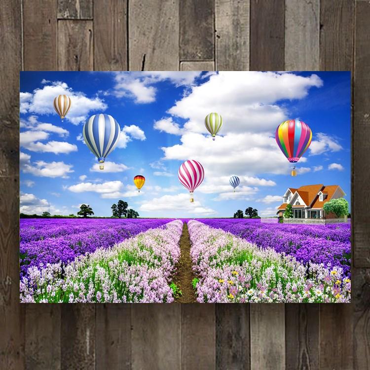 Lavender Garden Hot Air Balloon Art Needlework 14CT Canvas Unprinted Handmade Embroidery DMC Cross Stitch Kits DIY Home Decor