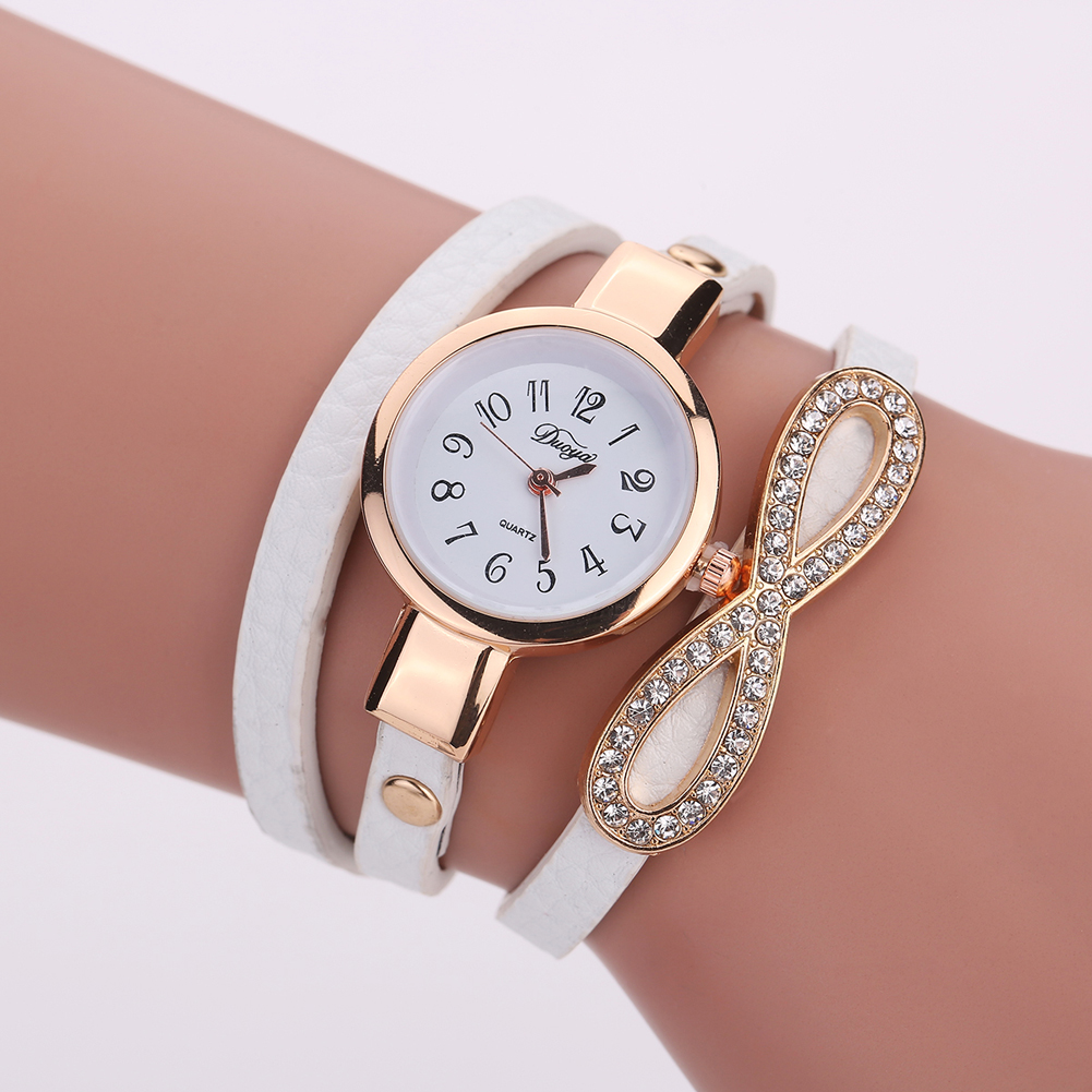 Ladies Watch 2017 Duoya Brand Diamond Bow Bracelet Quartz Watch Clock Women Gold Women's Watches Montre Femme Saat Reloj Mujer guou brand ladies watch full rose gold steel band high quality quartz wristwatches women watches saat reloj mujer montre femme