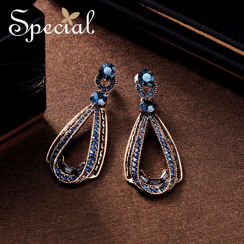 Special Vintage Big Stud Earrings Waterdrop Gold Ear Pins AAA Zirconia Bohemian Earrings New Jewelry Gifts for Women S1708E