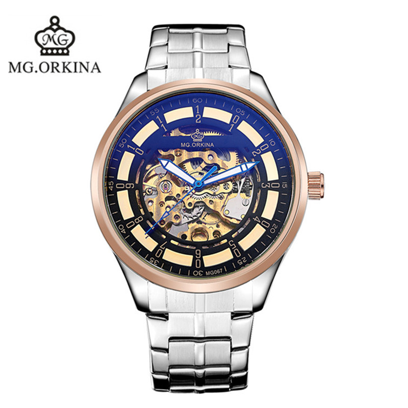 2016 new original ORKINA hollow keel stainless steel automatic mechanical watches fashion man brand luxury business