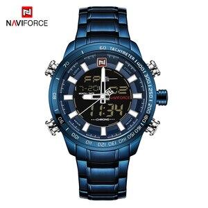 Image 5 - NAVIFORCE 시계 남자 전체 스틸 쿼츠 디지털 시계 방수 시계 남자 패션 블루 시계 Relogio Masculino Dropshipping