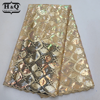 Hot sales Organza Lce fabric high quality African lace fabric with Embroidered French Sequins lace 5 Yards/pcs for Sewing dress