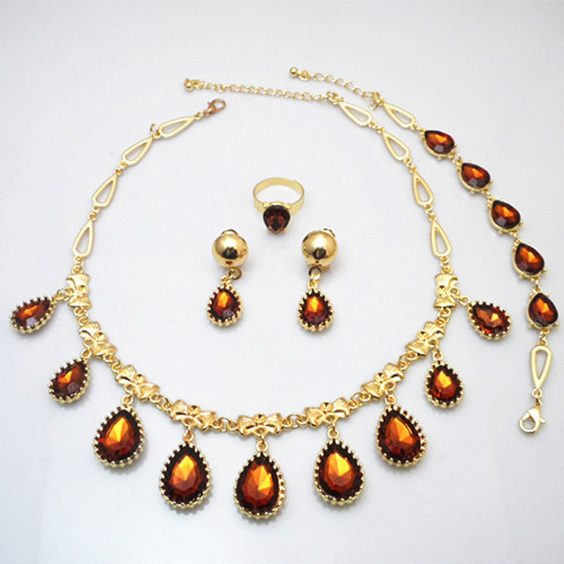 Gold Pated Luxury Coffee Color Waterdrop Shaped Crystal Charm Little Bow Around Jewelry Sets
