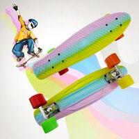 2015 Pastel Fade SkateBoard Style Board Complete Mini Longboard Retro Cruiser Skate Board 22 Three Color
