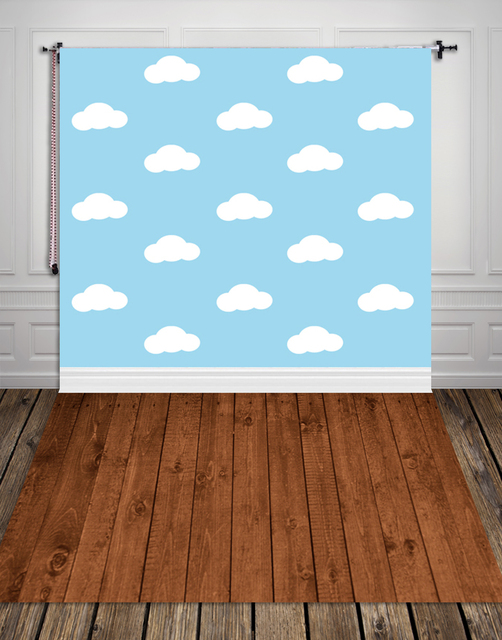 Huayi white clouds photography backdrops newborn photo background fabric backgrounds for photo studio boy blue backdrop