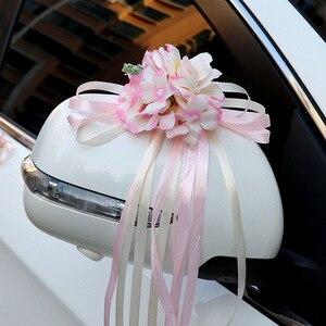 Image 3 - רכב חתונה קישוט פרח 10 צבעים דלת ידיות Rearview מראה חתונה ידית לקשט מלאכותי פרח לחתונה
