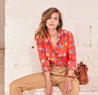 Women French Fresh Daisy Printed Shirt Silk and Cotton Sweet Blouse Top