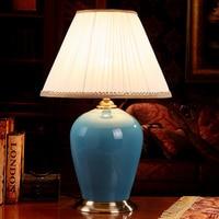 China Antique Living Room Vintage Table Lamp Porcelain Ceramic Table Lamp wedding decoration modern table lamp blue glazed