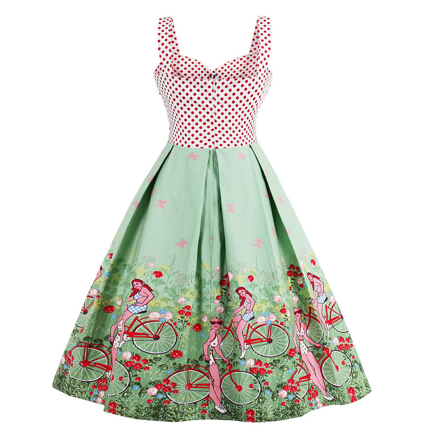 7d31700a8d3fa iiiher Summer Vintage Dress Women 1950s Patchwork Floral Print Backless  Retro Pin Up Sexy Rockabilly Dresses Plus Size Vestidos-in Dresses from  Women's ...