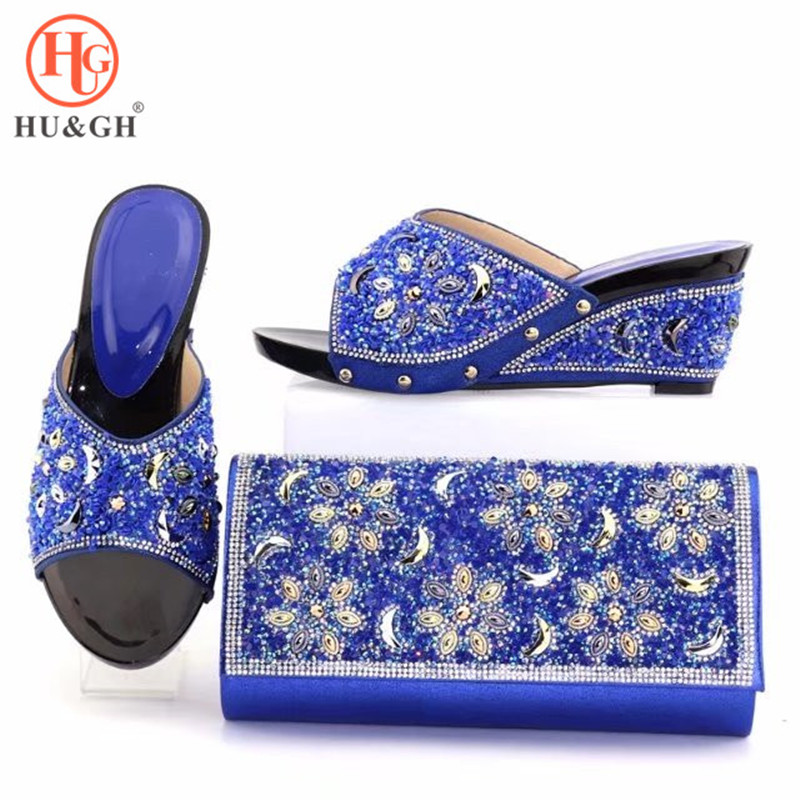 2018 Italian Design Woman Blue Color Shoes And Bag Set African Style Elegant High Heels Shoes And Purse Sets For Party Wedding high quality summer elegant italian shoes and bag set african thin heels shoes and bag set for wedding party doershowpuw1 13