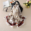 Luna&Dolphin Fashion Bandana Luxury Scarve Women Brand Silk Scarf Women Shawl Chain Printed 180X90CM Imitated Silk Fabric Hijab
