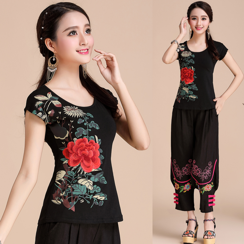 National Trend Women Slim Embroidered Short-sleeve O-neck Top Basic Pure Cotton Shirt Chinese Style Plus Size T-shirt Female