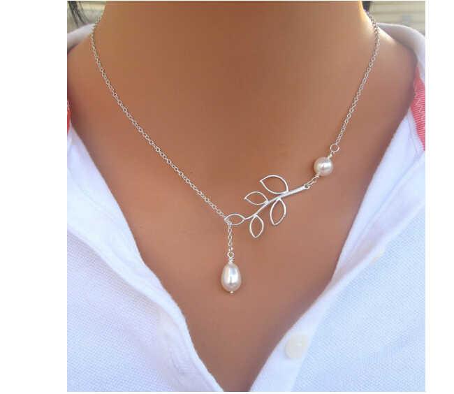 Na406 2018 Venta caliente collar de perlas de moda colgante de plata hojas de imitación de perla clavícula collar joyería femenina
