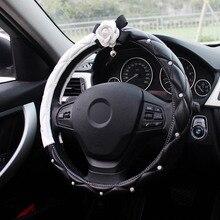 Алмазный кристалл белый цветок камелии украшение интерьера автомобиля рулевое колесо Чехлы кожа автомобиля Стайлинг горный хрусталь автомобиль покрытый