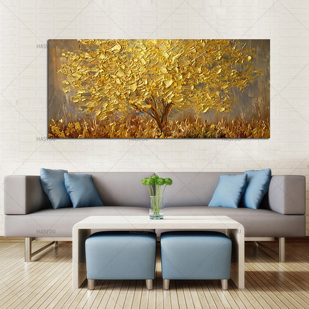 HTB1aXrscjnD8KJjSspbq6zbEXXaw Hand Painted Knife Gold Tree Oil Painting On Canvas Large Palette 3D Paintings For Living Room Modern Abstract Wall Art Pictures