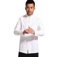 High Quality Solid White Chinese Traditional Men's Cotton Linen Kung Fu Jackets Coats M L XL XXL 3XL