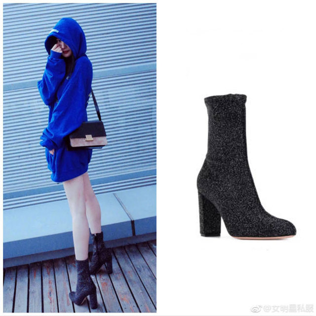 Silver leather Women Ankle Boots Glitter Zipper Side Velvet Sock Thigh High  Boots Slim Elastic Shoes Woman Thick High Heels Pump 2860698caf89