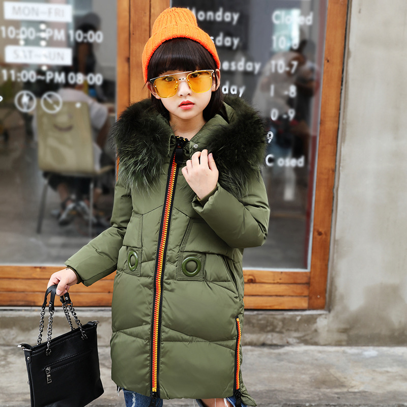 Children Girls 'down Jacket Long 2018 Winter Thick Jacket Girls Parkas Outdoor Warm Coat Teenage Winter Outwear Coat for girl 2017 new winter fashion women down jacket hooded thick super warm medium long female coat long sleeve slim big yards parkas nz18