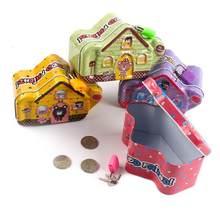 1 PC Dos Desenhos Animados Da Lata do Metal Banco de Moeda Piggy com Bloqueio Caixa de Dinheiro Dinheiro Caixa De Poupança Mealheiro Presentes para Crianças LG 010