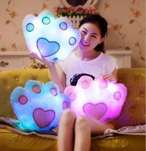 Hot Sale LED Luminous Cushion , LED Light Pillow, Plush Pillow, Kids Toys, Birthday Gift , Bear Faw , 5 Color Free Shipping #68