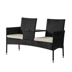 Sedia di vimini Doppio Sedile Outdoor Divanetto Mobili In Vimini Mobili da giardino Salotto Sedia Chat Set Piccolo Tavolo E Sedie