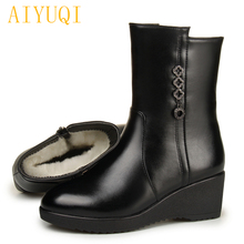 AIYUQI Female snow boots 2019 new genuine leather female motorcycle boots, big size 35-43 winter wedge Mother shoes