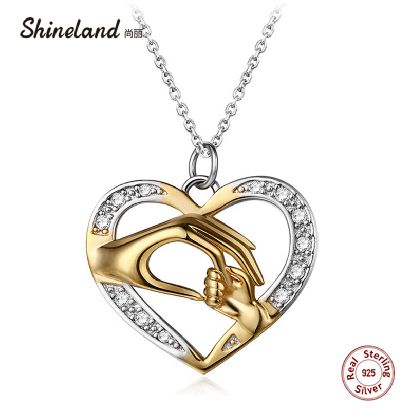 Shineland Mom Loves Baby Hand in Hand 925 Sterling Silver Fashion AAA Zircon Charm Necklace & Pendant Moederdag cadeau voor mama