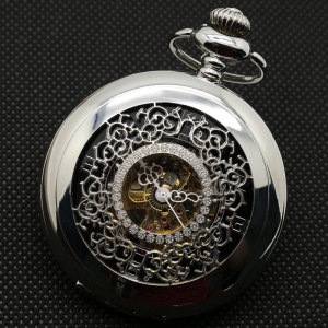 Image 3 - Half Hunter Silver Vintage Mechaincal Hand Wind Pocket Watch Set Fob Chains Best Gift for Men Women