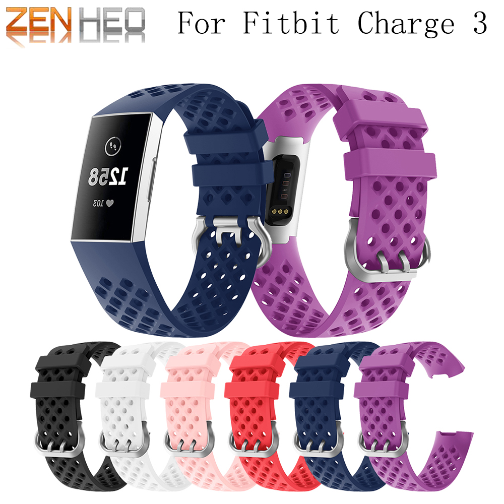 Silicone-Strap Wristband Rubber Fitbit Charge Sport for Bracelet 3